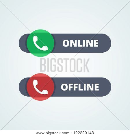 Online and offline status buttons. Transparent glass, plastic in green and red colors. Phone sign. Vector illustration in flat style for your web project.