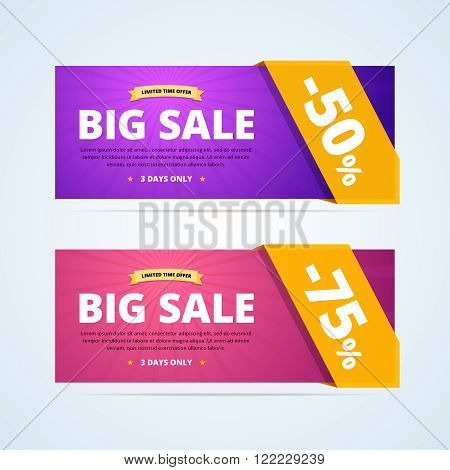 Big sale banners with transparent ribbon. 50 percent off banner. 75 percent off banner. Limited time offer advertising. Vector illustration in flat style for print and web design.