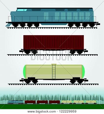 Set of freight train cargo cars. Container tank hopper and box freight train cars. Logistics heavy railway transport design elements. Flat style
