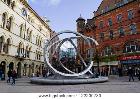 Belfast United Kingdom - february 22 2016: Sculpture Spirits of Belfast by Dan George in city centre