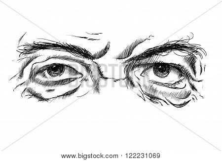 Hand drawing old man's eyes with glasses on a white background