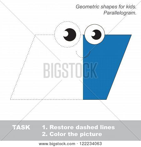 Parallelogram in vector colorful to be traced. Restore dashed line and color the picture. Visual game for children. Worksheet to be colored.