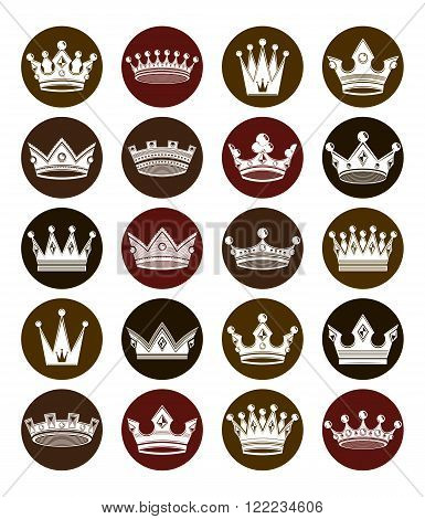 Set Of 3D White Royal Crowns Isolated. Majestic Classic Symbols, Coronet Collection. Web And Graphic