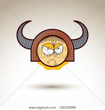 Vector Art Hand Drawn Illustration Of Angry Person. Girl Temperament Idea, Emotions On Woman Face. W
