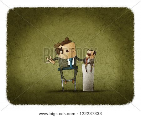 illustration of Powerful businessman playing with puppet