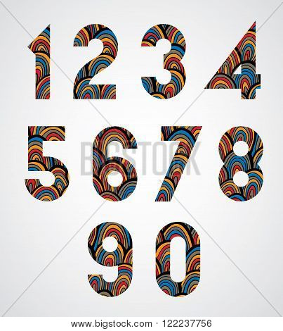 Pattern ornamental colorful abstract numbers, decorative digits