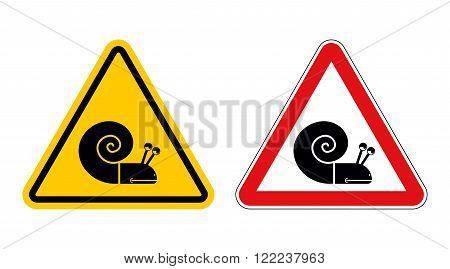 Snail Warning Sign Of Attention. Slow Motion On Road. Insect Hazard Yellow Sign. Red Triangle Slug.