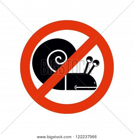 Stop Snail. Forbidden Insect. Stop Slow Motion On Road. Frozen Silhouette Snail. Emblem Against Slow