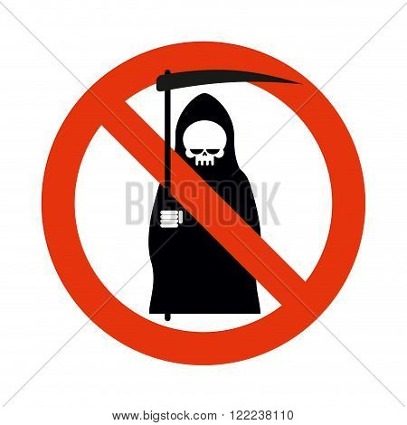 Stop Death. Grim Reaper Is Prohibited. Frozen Silhouette Of Death With Scythe. Emblem Against Death.