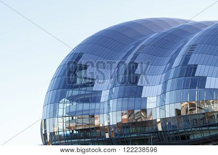 GATESHEAD ENGLAND - DECEMBER 7 2014: Iconic roof of The Sage in Gateshead centre for musical education and performance in the North East of England.