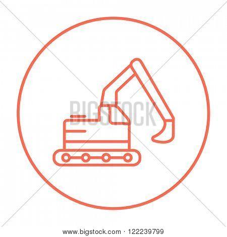 Excavator line icon.