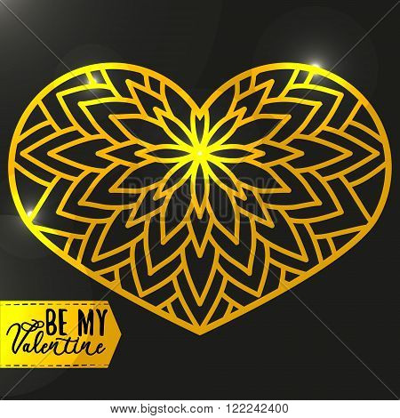 Ornamental Golden Heart with highlights. Vintage ornate design element for Valentine's Day or Wedding. Golden and Black Concept. Stock Vector