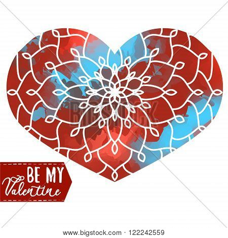 Ornamental Heart above colorful watercolor spot. Vintage ornate design element for Valentine's Day or Wedding. Stock Vector