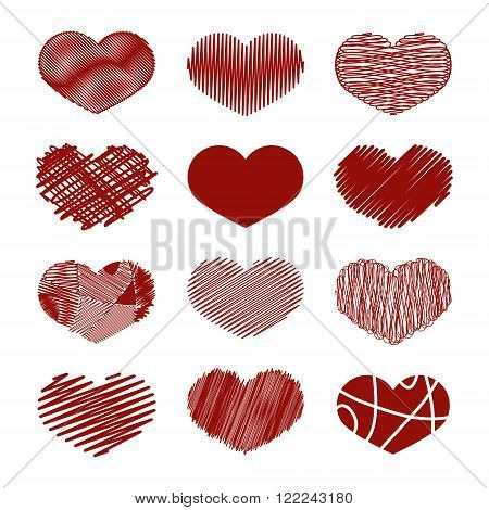 Set of Stylized hand-drawn Scribble Hearts Icons. Childlike Dense Loose Moir Sharp Sketch Snare Swash Tight Zig-Zag Scrappy Doodle Cartoon Comics. Perfect Design Element for Valentine's Day or Wedding. Vector Stock.