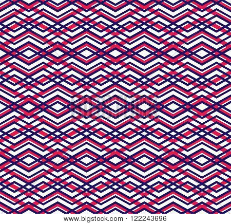 Bright abstract seamless pattern with interweave lines. Vector colorful pattern with stripes. Overlay endless decorative background.