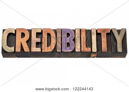 credibility word  - isolated text in vintage letterpress  wood type printing blocks