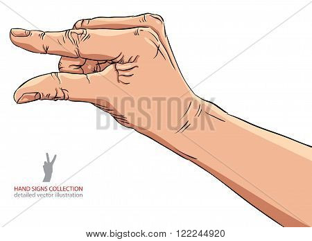 Hand showing small value or use it to put some small object between the fingers detailed vector illustration.