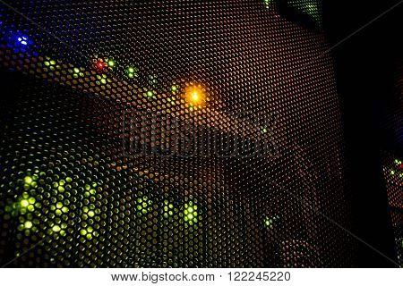 light indicators on the mainframe data center in the dark