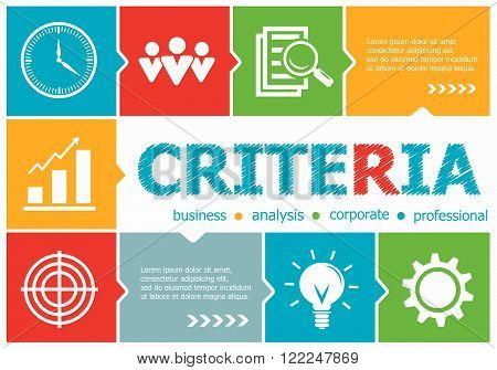Criteria design illustration concepts for business consulting management career. Criteria concepts for web banner and printed materials.
