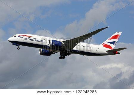 British Airways Airplane Boeing 787-8 Dreamliner London Heathrow Airport