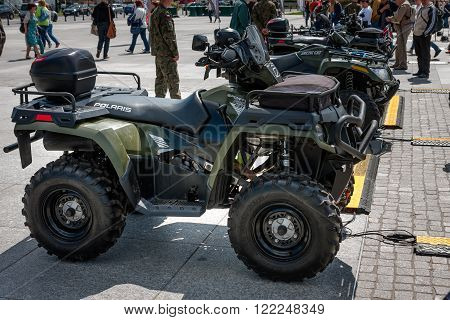 WARSAW, POLAND - MAY 08, 2015: Polaris Sportsman 800 Quad All Terrain Vehicle. Public celebrations of 70th Anniversary of End of World War II