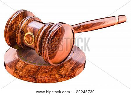 Wooden gavel in court of law. Auction hammer