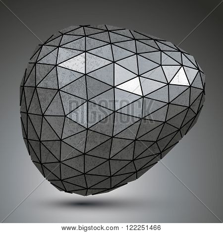 Deformed Galvanized 3D Abstract Object, Grayscale Asymmetric Spherical Element.