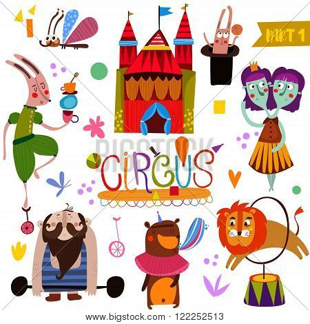 Circus Performance Collection  In Cartoon Style-part_1. Funny Card With Athlete Animals: Rabbit, But