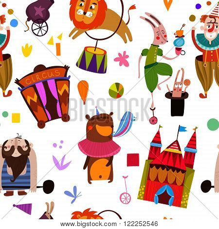 Lovely Seamless Pattern For Children Designs. Circus Performance  With Athlete Animals: Clown,rabbit