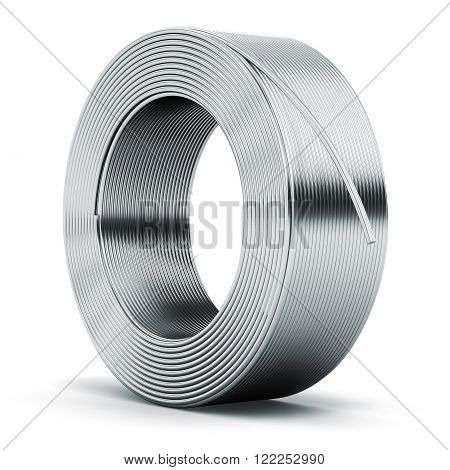 Hunk of shiny metal stainless steel, iron or aluminum electrical power wire cable isolated on white background