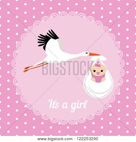 Stork carrying a cute baby girl. It's a girl card.
