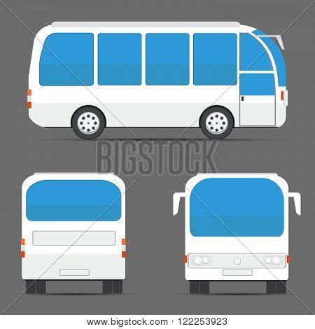 White Bus Rear, Side, Front