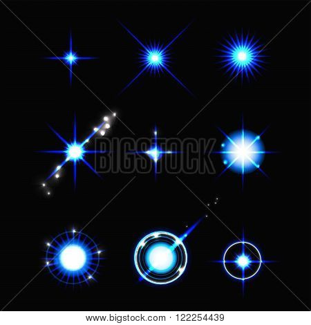 Vector set of lens flares. Stock vector. Vector illustration.