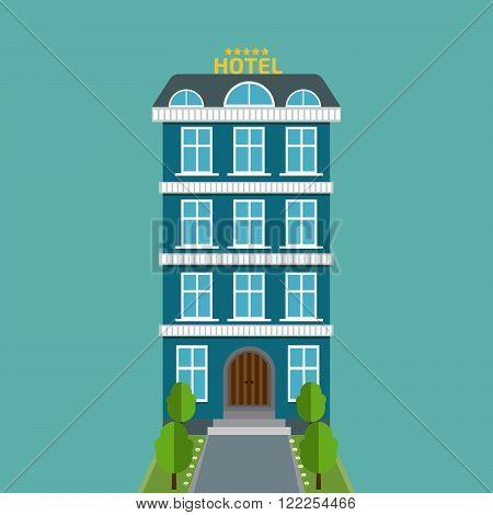 hotel icon flat. Stock vector. Vector illustration.