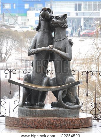 VIDNOYE, RUSSIA - MARCH 12, 2016: sculpture: the bench of reconciliation. The bench is curved so sitting cuddled up closer