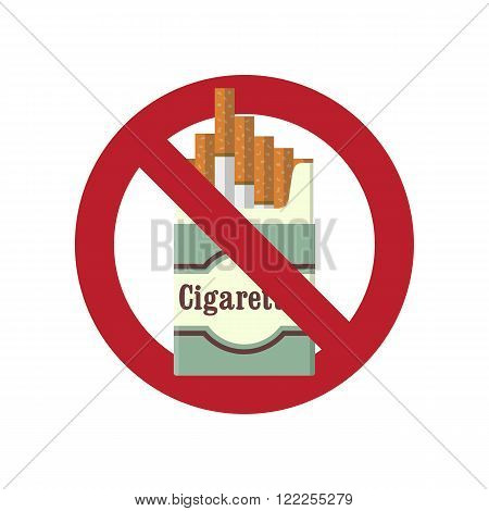 No smoking. The problem of smoking. No smoking flat icon. No smoking flat background. The crossed pack of cigarettes. Cigarettes pack icon. Smoking kills. Vector illustration. Flat design