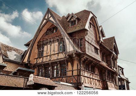 View of the Manoir de la Salamandre, a historic lordly Tudor style house in Etretat, Normandy, France