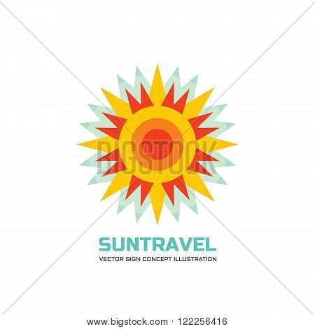 Sun travel - vector logo concept illustration in flat design style. Sun logo sign. Sunshine logo. Vacation logo sign. Summer logo sign. Travel agency logo. Tropical logo. Vector logo template.