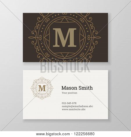 Business card monogram emblem letter M template design. Ornament design vector illustration. Good for personal sign