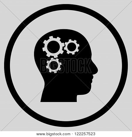 Brain Preferences vector icon. Picture style is flat brain gears rounded icon drawn with black color on a light gray background.