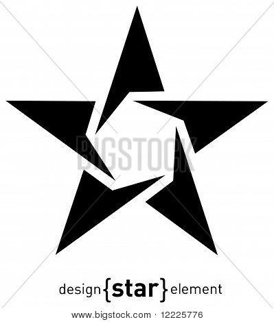 Abstract Design Element Star, Raster Illustration