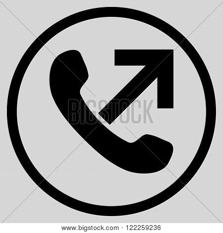 Outgoing Call vector icon. Picture style is flat outgoing call rounded icon drawn with black color on a light gray background.