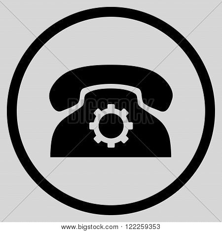 Telephone Preferences vector icon. Picture style is flat phone settings rounded icon drawn with black color on a light gray background.