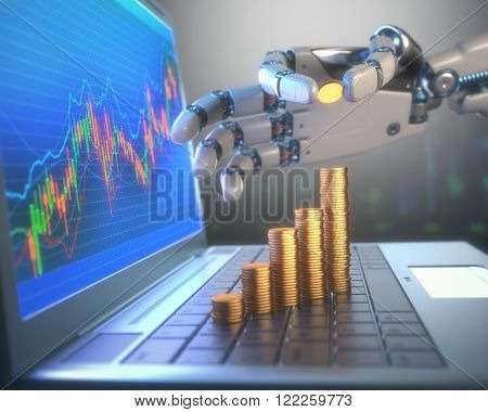 3D image concept of software (Robot Trading System) used in the stock market that automatically submits trades to an exchange without any human interventions. A robot hand counting money in graph form on the rise. Depth of field with focus on the gold coi