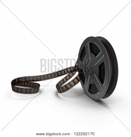3d model of movie film reel on white background