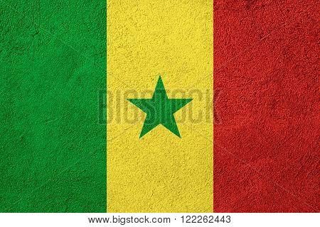 flag of Senegal or Senegalese banner on rough pattern background
