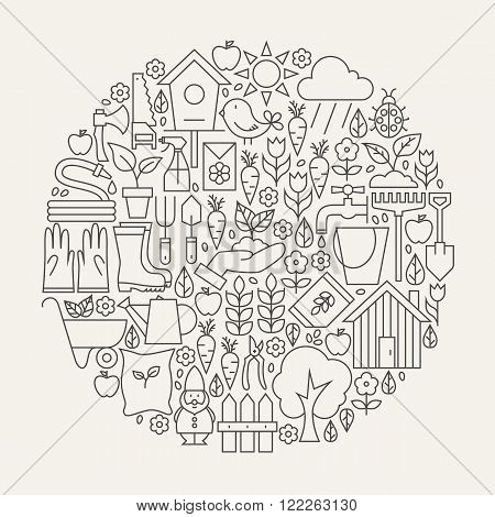 Garden And Flowers Line Icons Set Circle Shape