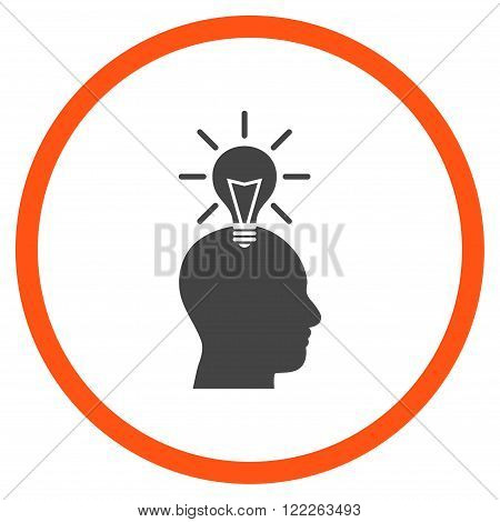 Genius Bulb vector bicolor icon. Picture style is flat genius bulb rounded icon drawn with orange and gray colors on a white background.
