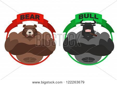 Bear and bull. Strong bear. Bull with horns on white background. Metaphor for players on Exchange. Traders of bulls and bears. Angry animal. Wild bear and bull farm