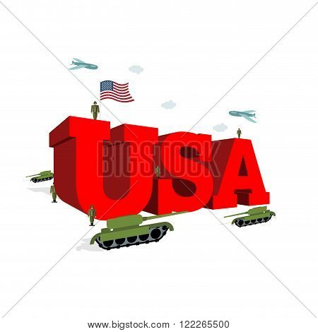 Usa Letters 3D. Patriotic Artwork Military In America. Soldiers Welcomed Give Honor. Paper Impregnat